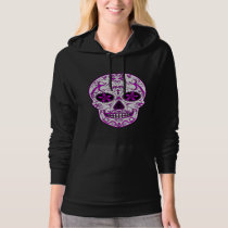 Hot Pink on Pink - Day of the Dead Sugar Skull Hoodie