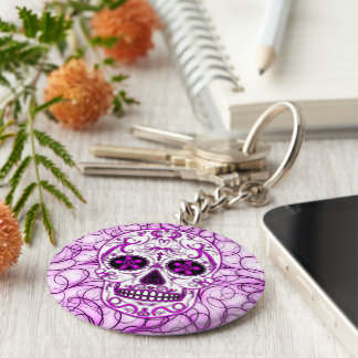 Hot Pink on Pink - Day of the Dead Sugar Skull Keychain