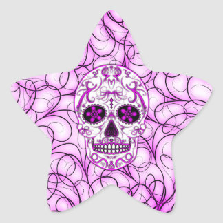 Hot Pink on Pink - Day of the Dead Sugar Skull Star Sticker