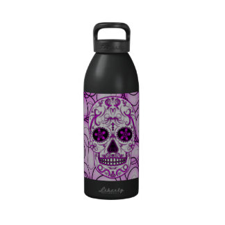 Hot Pink on Pink - Day of the Dead Sugar Skull Reusable Water Bottles