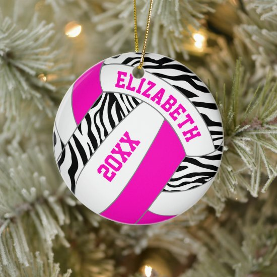 hot pink or ANY COLOR w black zebra volleyball Ceramic Ornament