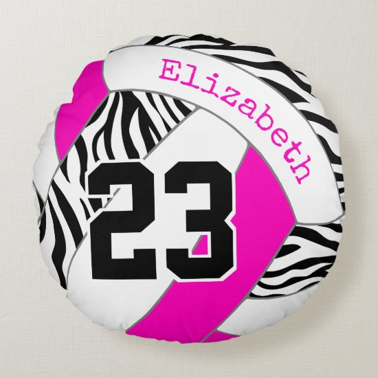 hot pink or ANY COLOR w black zebra volleyball Round Pillow
