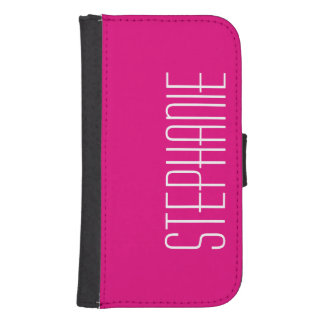 Hot Pink or CHOOSE YOUR COLOR w/White Text Custom Galaxy S4 Wallet Case