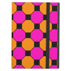 Hot Pink Orange Black Squares Hexagons Patterns iPad Covers