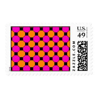 Hot Pink Orange Black Squares Hexagons Patterns Stamps