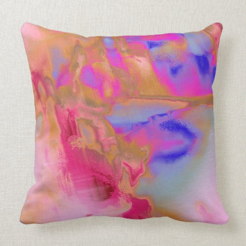 Hot Pink Orange Blue Throw Pillow