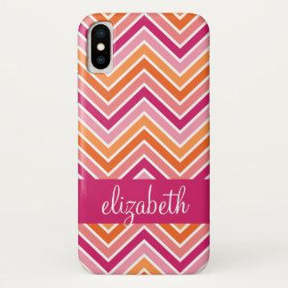 Hot Pink & Orange Chevron Pattern and Name iPhone X Case