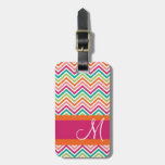 Hot Pink & Orange Chevron Pattern With Monogram Bag Tag at Zazzle