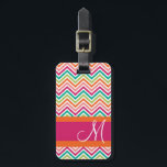 """Hot Pink &amp; Orange Chevron Pattern with Monogram Bag Tag<br><div class=""""desc"""">A trendy design with bright colors and bold patterns. Add your name or monogram on the front.</div>"""