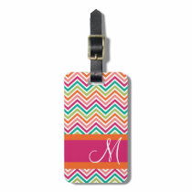 Hot Pink & Orange Chevron Pattern with Monogram Bag Tag