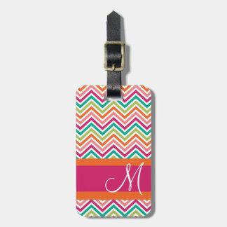 Hot Pink & Orange Chevron Pattern with Monogram Bag Tag