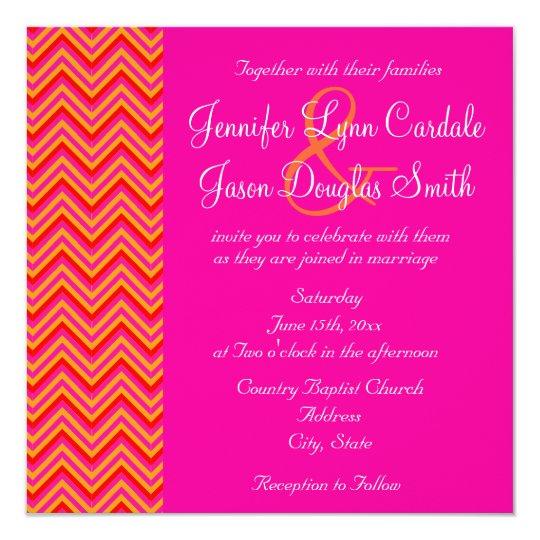 Pink Orange Wedding Invitations: Hot Pink Orange Chevron Wedding Invitation