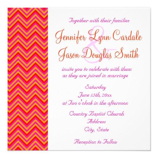 Hot Pink Orange Chevron Wedding Invitation 525 Square Invitation Card