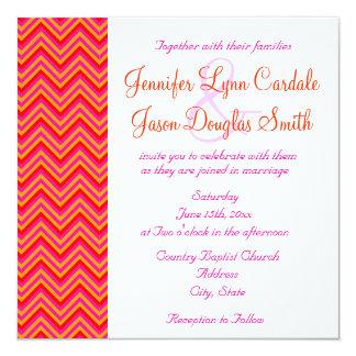 """Hot Pink Orange Chevron Wedding Invitation 5.25"""" Square Invitation Card"""