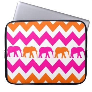 Hot Pink Orange Elephants Chevron Laptop Sleeve Laptop Computer Sleeve
