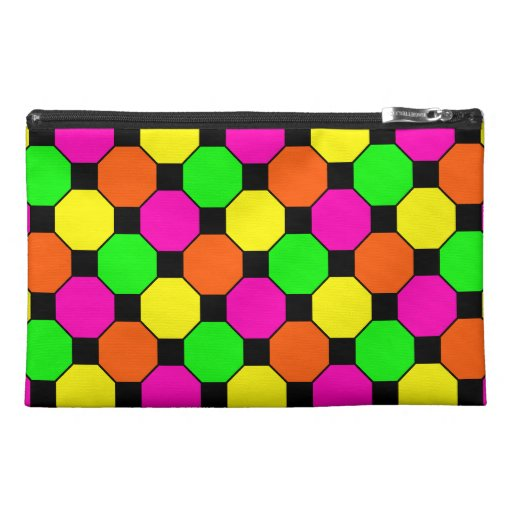 Hot Pink Orange Green Black Squares Hexagons Travel Accessory Bag