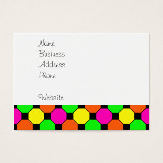 Hot Pink Orange Green Black Squares Hexagons Business Card
