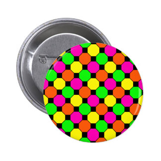 Hot Pink Orange Green Black Squares Hexagons Buttons