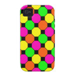 Hot Pink Orange Green Black Squares Hexagons Vibe iPhone 4 Cover