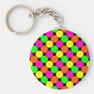 Hot Pink Orange Green Black Squares Hexagons Keychain