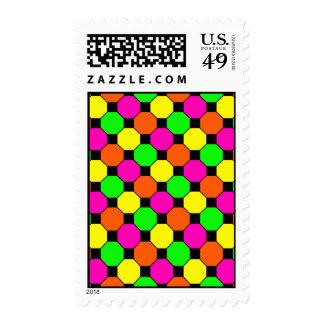 Hot Pink Orange Green Black Squares Hexagons Stamps