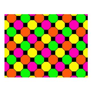 Hot Pink Orange Green Black Squares Hexagons Postcard