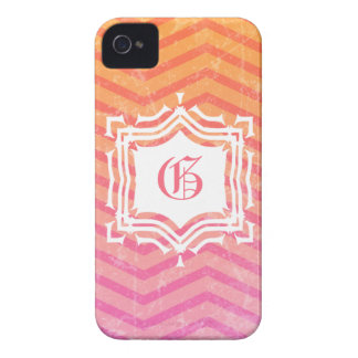Hot Pink Orange Grunge Chevron Initialed iPhone 4 Case-Mate Cases