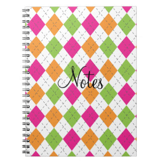 Hot Pink, Orange & Lime Argyle Note Book