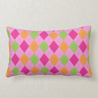 Hot Pink, Orange & Lime Argyle Pillow