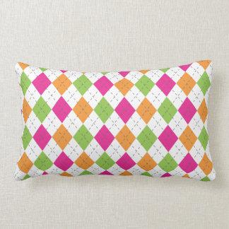 Hot Pink, Orange & Lime Argyle Throw Pillow