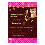 Hot Pink/Orange Owl/DIY color... Birthday Party Personalized Invite