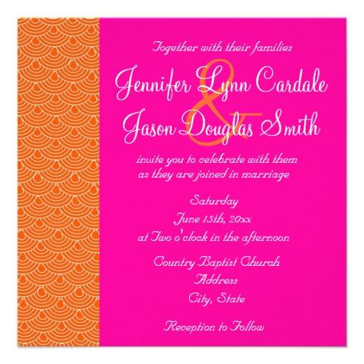 Hot Pink Orange Scallops Design Wedding Invitation