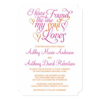 Hot Pink Orange Soul Loves Heart Wedding 5x7 Paper Invitation Card