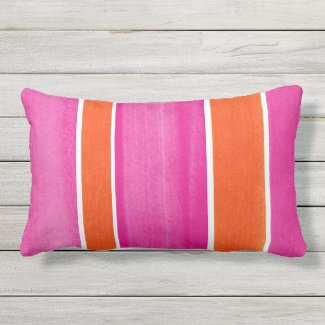 Hot Pink Orange Stripes Outdoor Pillow