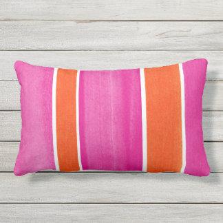 Hot Pink Orange Stripes Outdoor Pillow