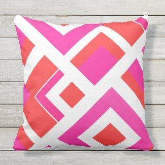 Hot Pink Orange White Geometric Block Outdoor Pillow