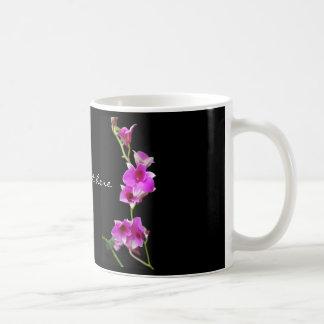 hot pink orchids coffee mug