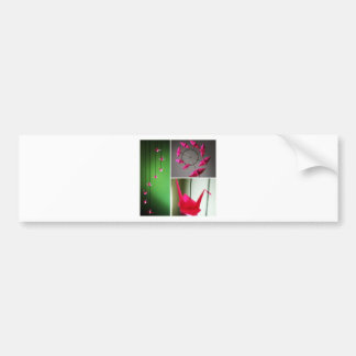 Hot Pink Origami Crane Mobile Bumper Sticker