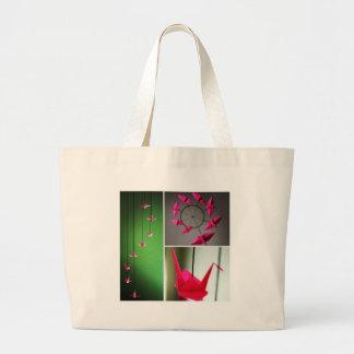 Hot Pink Origami Crane Mobile Canvas Bag