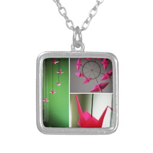 Hot Pink Origami Crane Mobile Necklaces