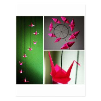 Hot Pink Origami Crane Mobile Postcard