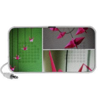 Hot Pink Origami Crane Mobile Laptop Speaker