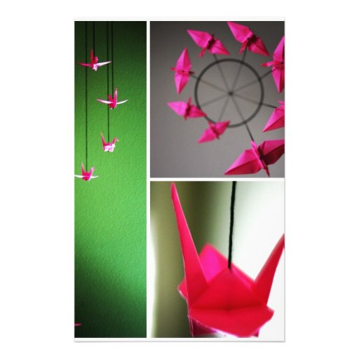 Hot Pink Origami Crane Mobile Customized Stationery