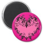 Hot Pink Ornate Heart - Magnet
