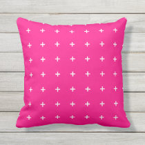 Hot Pink Outdoor Pillows - Cross Pattern