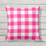 "Hot Pink Outdoor Pillows - Gingham Pattern<br><div class=""desc"">Hot Pink gingham pillows for outdoors. Made in the USA. High quality twill pattern print in vibrant colors. UV and mildew resistant garden or patio pillows with a gingham or buffalo check pattern. Available in 16 or 20 inch square and 13 by 21 rectangular sizes. Insert included. (Also available as...</div>"