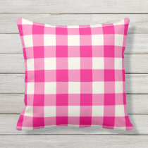 Hot Pink Outdoor Pillows - Gingham Pattern