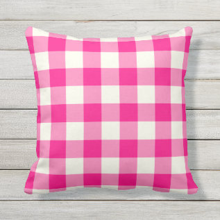 Hot Pink Outdoor Pillows - Gingham Pattern at Zazzle