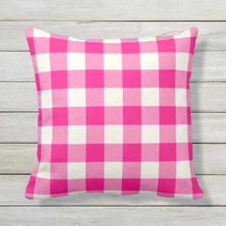 Hot Pink Outdoor Pillows - Gingham Pattern