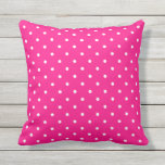 "Hot Pink Outdoor Pillows - Polka Dot<br><div class=""desc"">Hot Pink outdoor pillow with a 50s style small polka dot pattern. Made in the USA. Vivid, colorful high quality printing. UV and mildew resistant garden or patio pillows with classic patterns in modern summer colors. Available in 16 or 20 inch square and 13 by 21 rectangular sizes. Insert included....</div>"